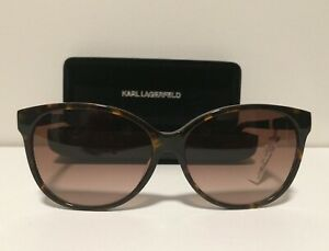 NEW Karl Lagerfeld Paris 58MM Oval Sunglasses Havana Brown w/ Hard Case NWT!