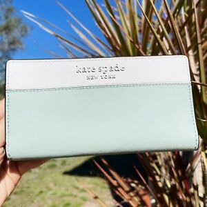 Kate Spade Staci Colorblock Large Slim Bifold Wallet Spring Meadow Mint Multi