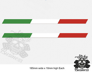 Italian Flag Stripe Stickers x2 Fiat 500 abarth Ferrari Alfa Ducati Decal TWO