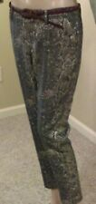 Worthington women's snake design pants, gold and dark green, size 6