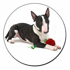 Bull Terrier Dog with Red Rose Fridge Magnet Stocking Filler Christm, AD-BUT2RFM