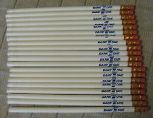 Estate Sale ~ Lot of 20 Vintage Wood Advertising Pencils - Bank One - NOS