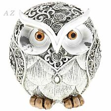 Silver Rose Owl Ornaments Animals Birds Figures Home Decor Art Gifts New 55310