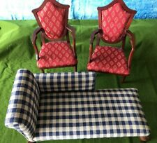 "Chaise Lounge Couch and (2) Chairs: Works w/ 18"" American Girl Dolls"