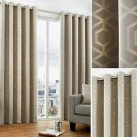 Stone Eyelet Curtains Geometric Jacquard Ready Made Lined Ring Top Curtain Pairs
