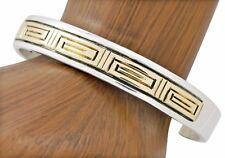 SOLID 14k Yellow Gold & .925 Silver Navajo Emer Thompson Cuff Bracelet