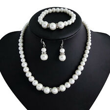 Women Classic Fashion Pearl Necklace Bracelet Earring Set Jewelry Wedding Party