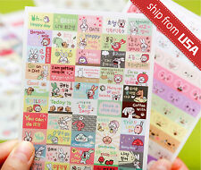 6 sheet Korean Hong-e Dding-gu Rabbit Ver.3 Cute PVC Diary Deco Stickers Kawaii