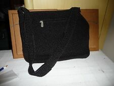 #723 vtg handbag  BLACK Corde by The SAK  shoulder strape