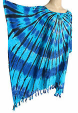 Damen blau Batik Kaftan Poncho Tunika Top Strand passt groß Übergröße NEU