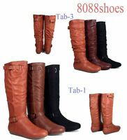 Women's Zipper Flat Heel Round Toe Mid Calf Knee High Boots Shoes Size 6 -10 NEW