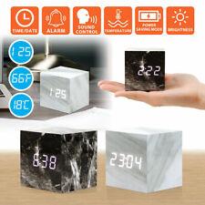 Reloj Despertador Moderno Mármol USB/AAA Digital LED Calendario Termómetro De Madera Madera