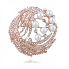 ITALINA 18K ROSE GOLD PLATED GENUINE CUBIC ZIRCONIA & WHITE PEARL ROUND BROOCH