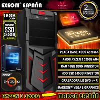 Ordenador Gaming Pc AMD Ryzen 3 3200G 16GB DDR4 SSD 240Gb Sobremesa Windows 10