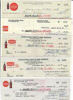 5 Vintage Coca-Cola Checks