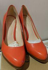 Ladies NINE WEST Shoes 6M orange LEATHER Stiletto High Heel platform
