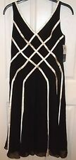 Womens ADRIANNA PAPELL~BLACK SILK DRESS~size 12~NEW Cocktail Party White Ribbons