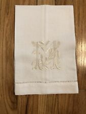 Linen Cotton Blend Off White Tea Towel Table Napkin With Initial M