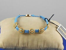 Juicy Couture Goldtone STATUS COIN Blue Macrame Pully Friendship Bracelet