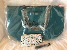 New Thirty One Teal Affair Style Setter Tote Bag w/ Jewell Purse wristlet/strap