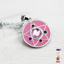 Sailor Moon R Brooch Transformation Power Locket Pink & Silver Anime Necklace
