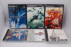 PS1 ACE COMBAT 1 2 3 & PS2 04 , 5 & Zero 6Games Set Japan import PlayStation
