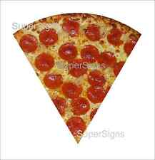 """2 24"""" PEPPERONI PIZZA SLICE Decal Sticker set for Delivery Shop Window Car Sign"""