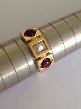Antique Victorian 18ct Garnet & Seed Pearl Set Ring