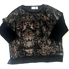 Chico's Women's Career Party Tunic Top Animal Print Velvet Burn Outs Size 1