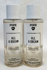 2 Victoria's Secret Pink ALL A DREAM Coconut Blooms Fragrance Mist Body Spray