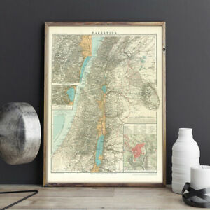 Historical map of Palestine from 1905 Atlas, Vintage Print Poster Rare