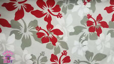 Calico Cotton White, Red, & Grey Hawaiian Floral Fabric By The Yard