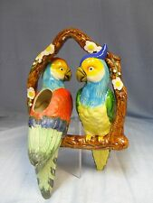 Vintage Majolica-Style Double Parrot Hanging Planter