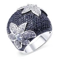 Women Wedding Rings Vintage Flower Silver Plated White Sapphire Jewelry Sz 6-10