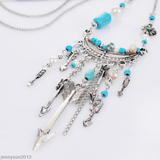Women Dream Catcher Turquoise Pendant Long Chain Necklace Sweater VintageJewelry
