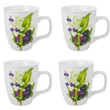 Kaffebecher Becher 4 Stück Tassen Porzellan Kaffeebecher Frühlingsstrauss 400 ml