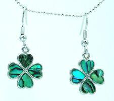 Beautiful Green Clover FW Earrings Set Paua Shell Inlay