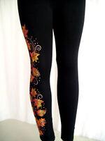 REGULAR & PLUS SIZE LONG LEGGINGS Embellished Rhinestone & Stud Autumn Leaves
