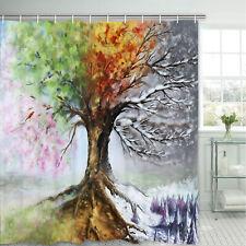 Shower Curtain Art Colorful Tree Print Durable Bath Curtains Waterproof Decor
