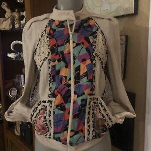 Vintage Koos Van Den Akker Silk patchwork style short Zip / Jacket/ Pockets XS