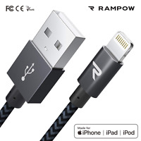 RAMPOW 1m Lightning Kabel MFI USB Schnell Ladekabel für iPhone 11 X 8 7 6 5 iPad