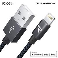 RAMPOW 1m Lightning Kabel MFI USB Schnell Ladekabel für iPhone 12 11 X 8 SE iPad