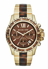 NEW MICHAEL KORS EVEREST LADIES WATCH MK5873 - GLITZ BROWN TORTOISE STRAP