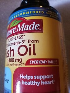 Nature Made Fish Oil Burp-Less Ultra Omega 3 1400 mg One Per Day 100 Sftgel 8/22