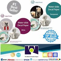 """Inkjet Waterslide Decal COMBO 5 Sheets Each CLEAR & WHITE Paper,, 8.5"""" x 11"""" A+"""
