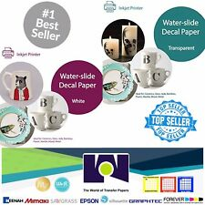 "Inkjet Waterslide Decal COMBO 5 Sheets Each CLEAR & WHITE Paper,, 8.5"" x 11"" A+"