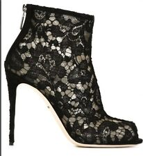 NWT STUNNING DOLCE & GABBANA FLORAL BLACK LACE OPEN-TOE ANKLE BOOTS  SZ.IT 40