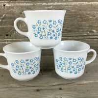 Set of 3 Vintage Corelle by Corning 1970's Blue Heather Flowers 8 oz Cups