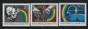 GERMANY DDR - #1690-#1692 - 1975 BRAILLE WRITING 150th ANNIVERSARY MINT SET MNH