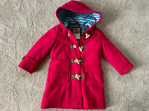 Mini Boden Wool Blend Hooded Duffle Coat Toggle Size 3-4Y Girl's Light Red